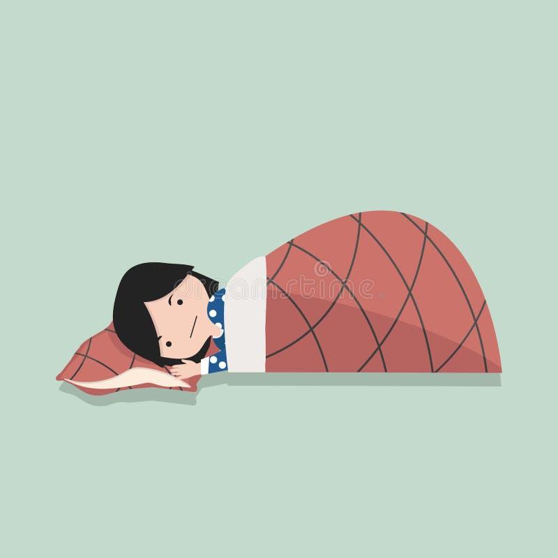 Petite fille dormant avec l'oreiller et la couverture illustration libre de droits