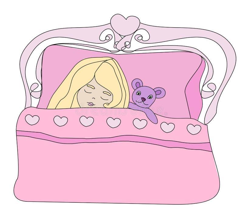 Petite fille dormant avec son jouet d'ours illustration stock