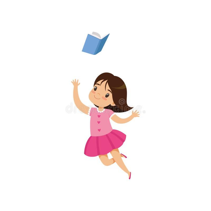 Petite fille douce dans la robe rose sautant avec le livre, enfant mignon jouant et apprenant l'illustration de vecteur sur un bl illustration de vecteur