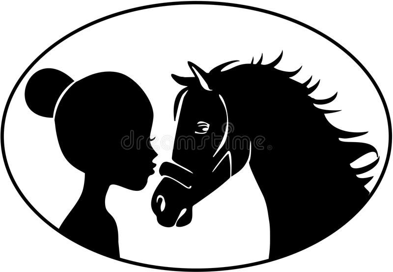 Petite fille embrassant le cheval illustration libre de droits