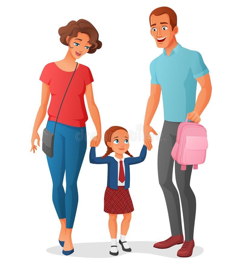 Petite fille en allant à l'école avec des parents Illustration de vecteur illustration de vecteur