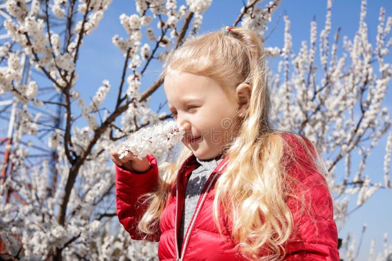 Petite fille en bonne santé heureuse appréciant le printemps Concept gratuit d'allergie image libre de droits