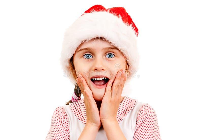 Petite fille en Santa Hat photo stock