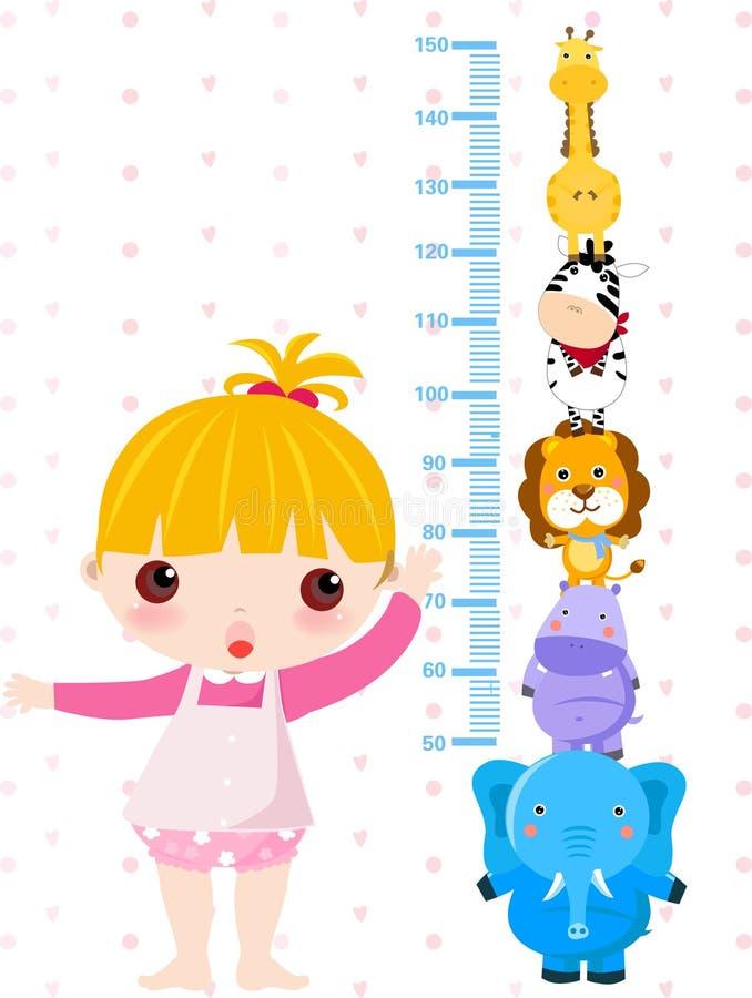 Petite fille et animaux illustration stock