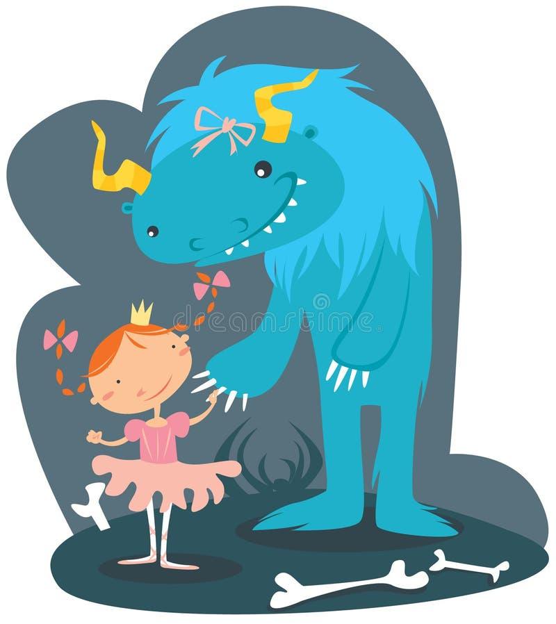 Petite fille et bête illustration stock