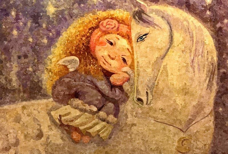 Petite fille et cheval Aquarelle humide de peinture sur le papier Art naïf Aquarelle de dessin sur le papier illustration libre de droits