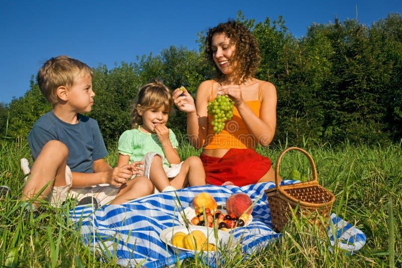 Petite fille et femmes et garçon sur le pique-nique dans g image libre de droits