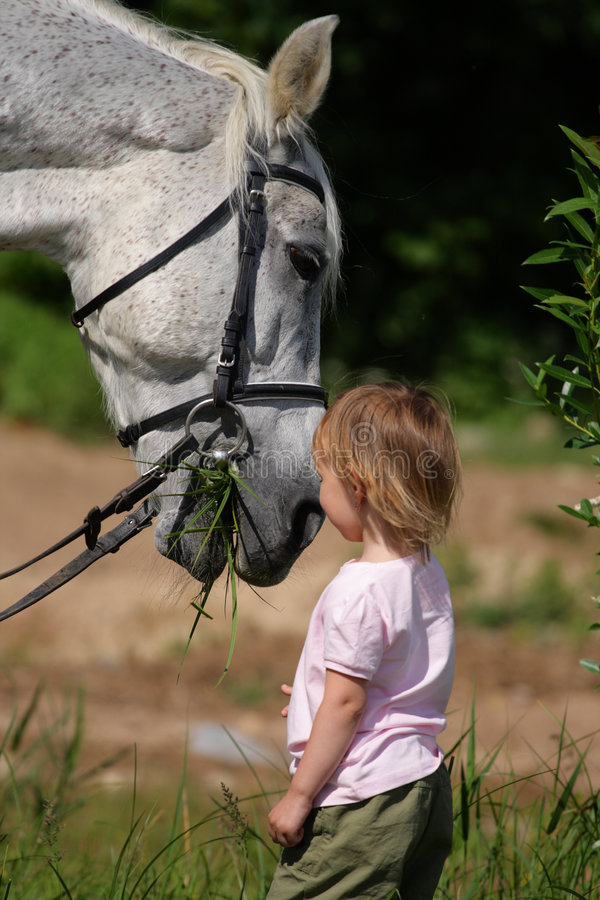 Petite fille et grand chef de cheval mangeant l'herbe photo stock