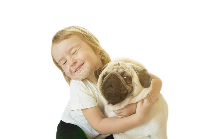 Petite fille et le Roquet-chien sur un fond blanc photo stock