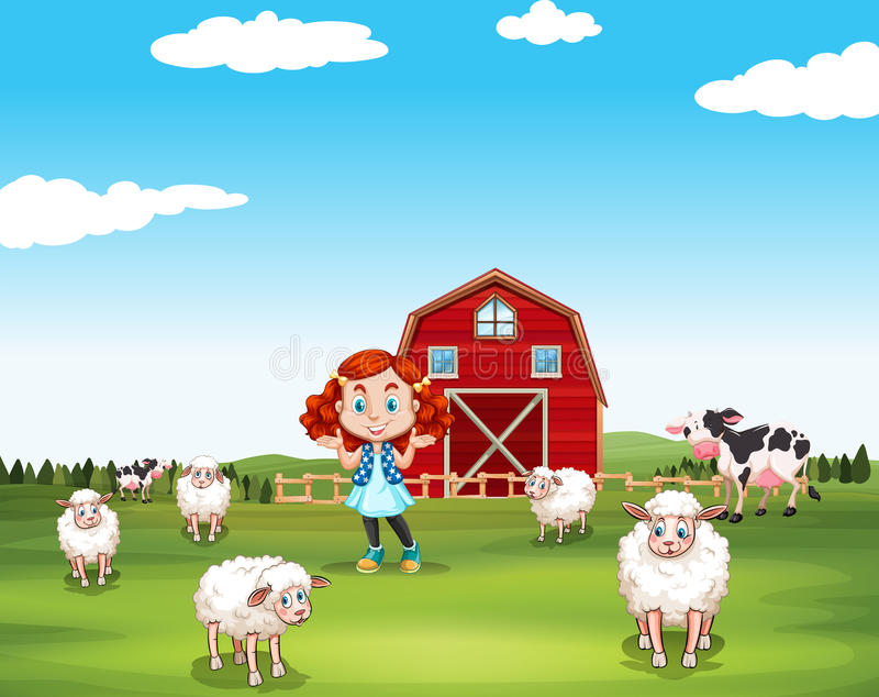 Petite fille et moutons à la ferme illustration libre de droits