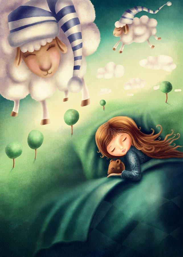 Petite fille et moutons ounting de  de Ñ illustration stock