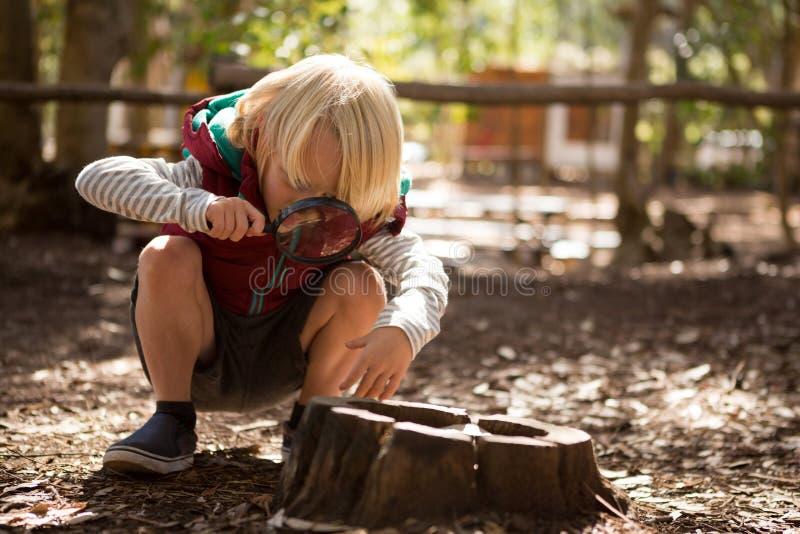Petite fille explorant la nature par une loupe photographie stock