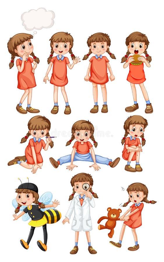 Petite fille faisant différentes activités illustration stock