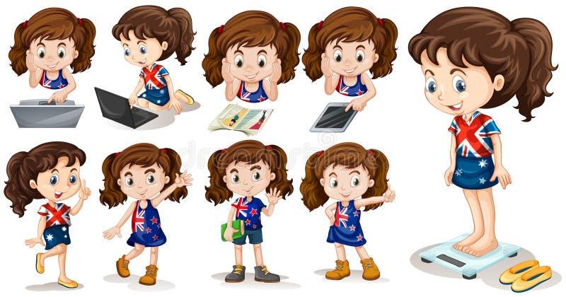 Petite fille faisant différentes activités illustration de vecteur