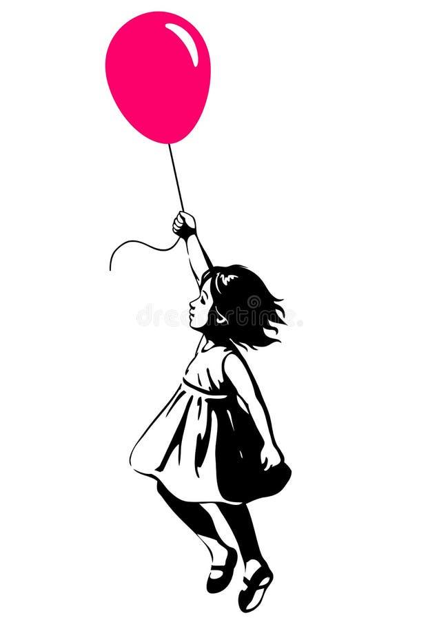 Petite fille flottant avec un ballon rouge, étable de graffiti d'art de rue illustration libre de droits