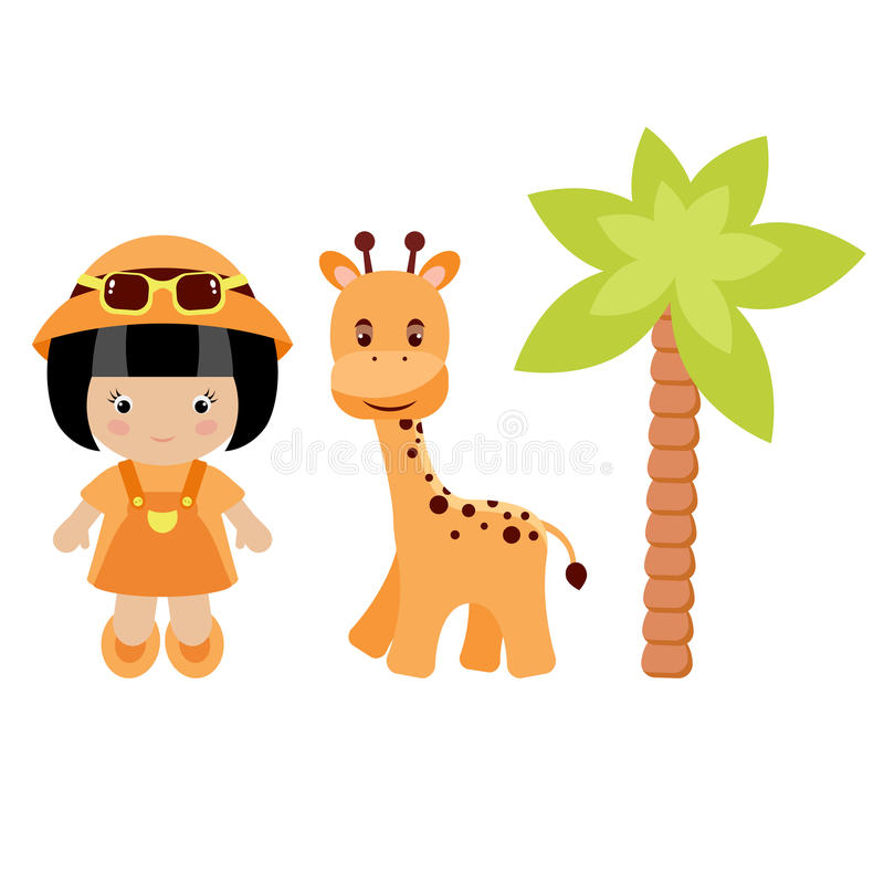 Petite fille, giraffe et palmier illustration stock