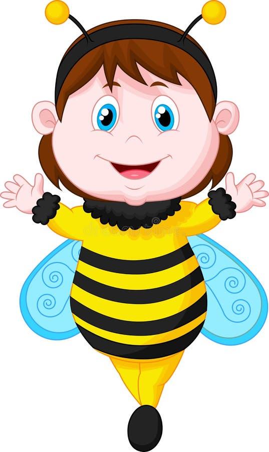Petite fille habillée comme abeille illustration stock