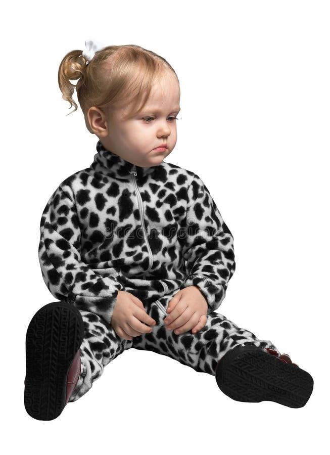 Petite fille habillée en tant que Dalmate photographie stock libre de droits