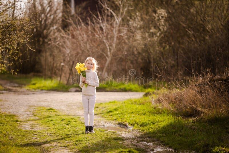 Petite fille heureuse blonde mignonne avec le pays jaune de jonquilles au printemps photos libres de droits