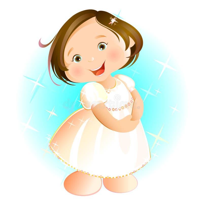 Petite fille heureuse (brune) illustration stock