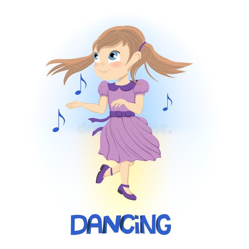 Petite fille heureuse dans la danse pourpre de robe près de flotter les notes musicales illustration libre de droits