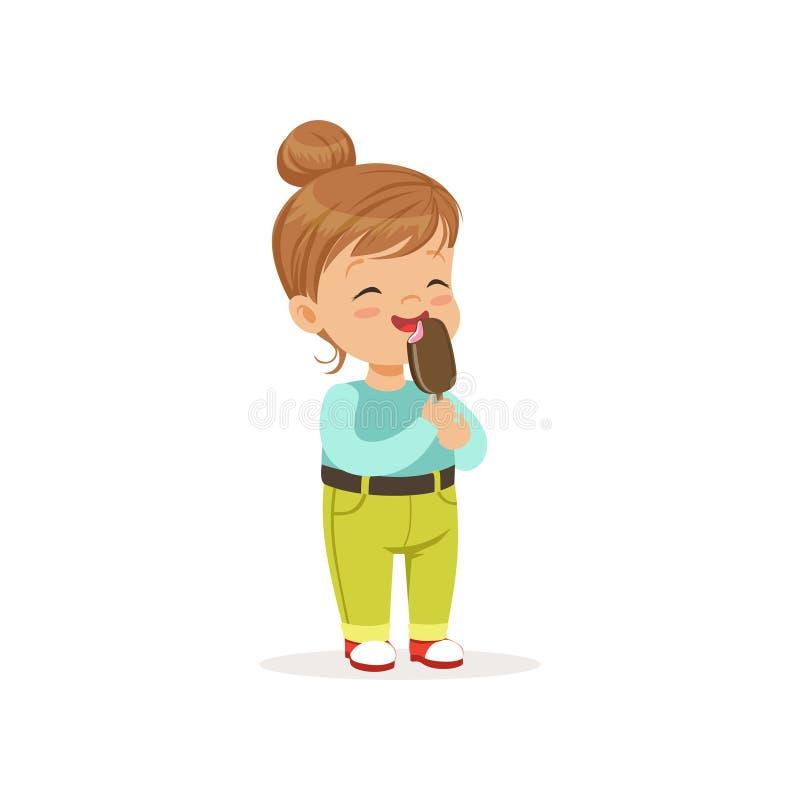 Petite fille heureuse mangeant de la glace délicieuse de chocolat illustration de vecteur
