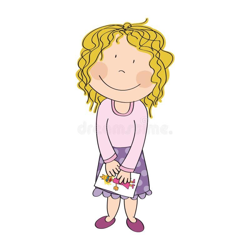 Petite fille heureuse mignonne avec les cheveux bouclés blonds illustration libre de droits