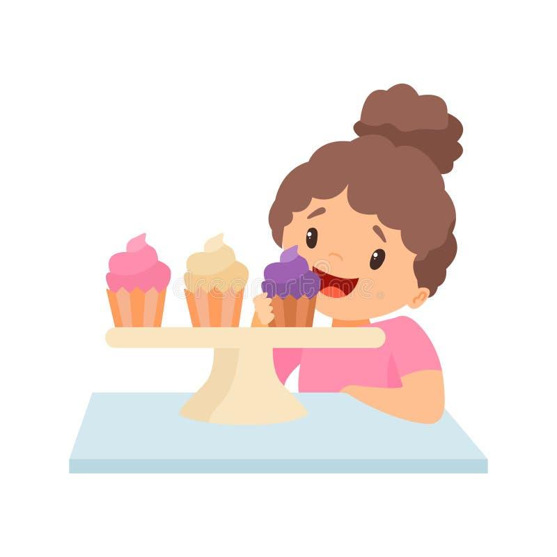 Petite fille heureuse mignonne mangeant l'illustration de vecteur de petits gâteaux illustration de vecteur