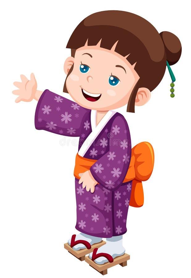 Petite fille japonaise mignonne illustration libre de droits