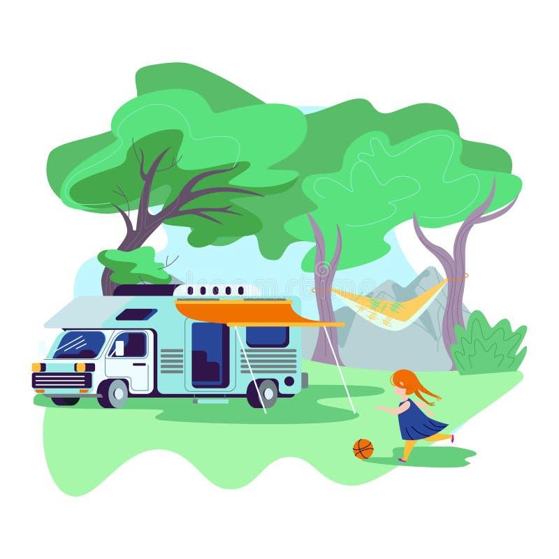 Petite fille jouant la boule près de la voiture de camping-car illustration stock