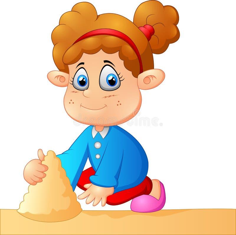 Petite fille jouant le sable illustration stock