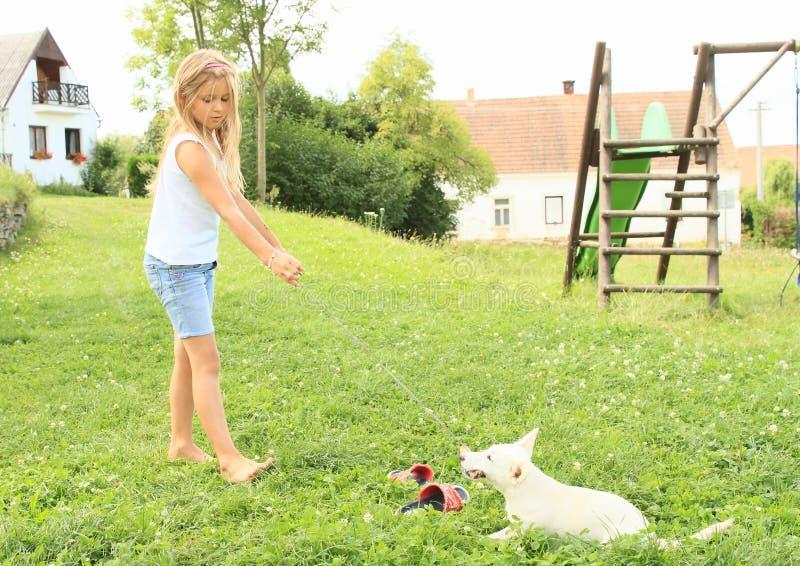 Petite fille jouant un chiot images stock