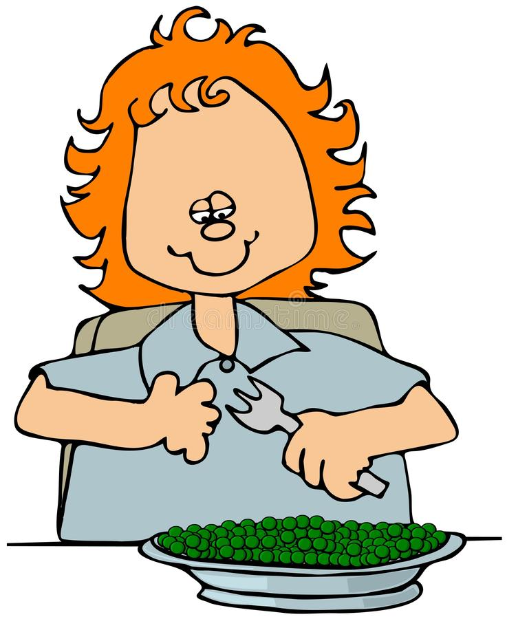 Petite fille mangeant des becs d'ancre illustration de vecteur