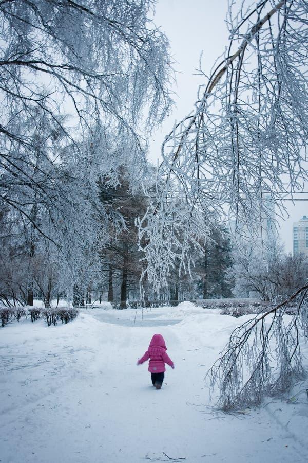 Petite fille marchant dans la forêt glacée (Narnia) images libres de droits