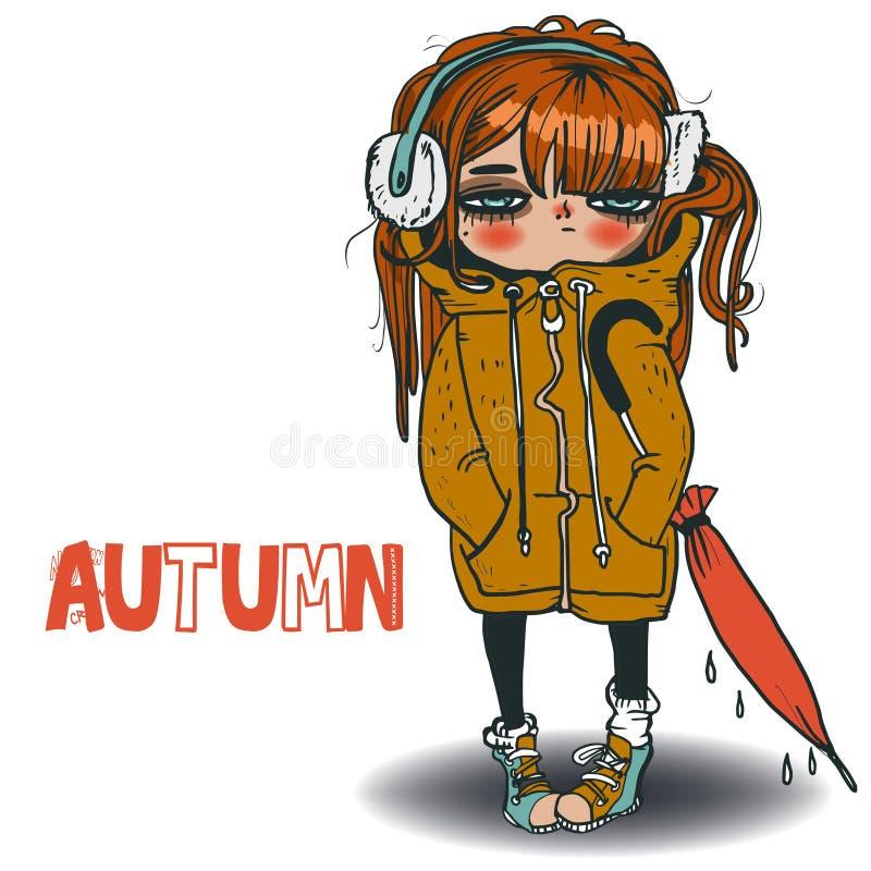 Petite fille mignonne illustration de vecteur