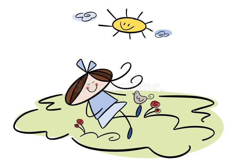 Petite fille mignonne au printemps illustration de vecteur