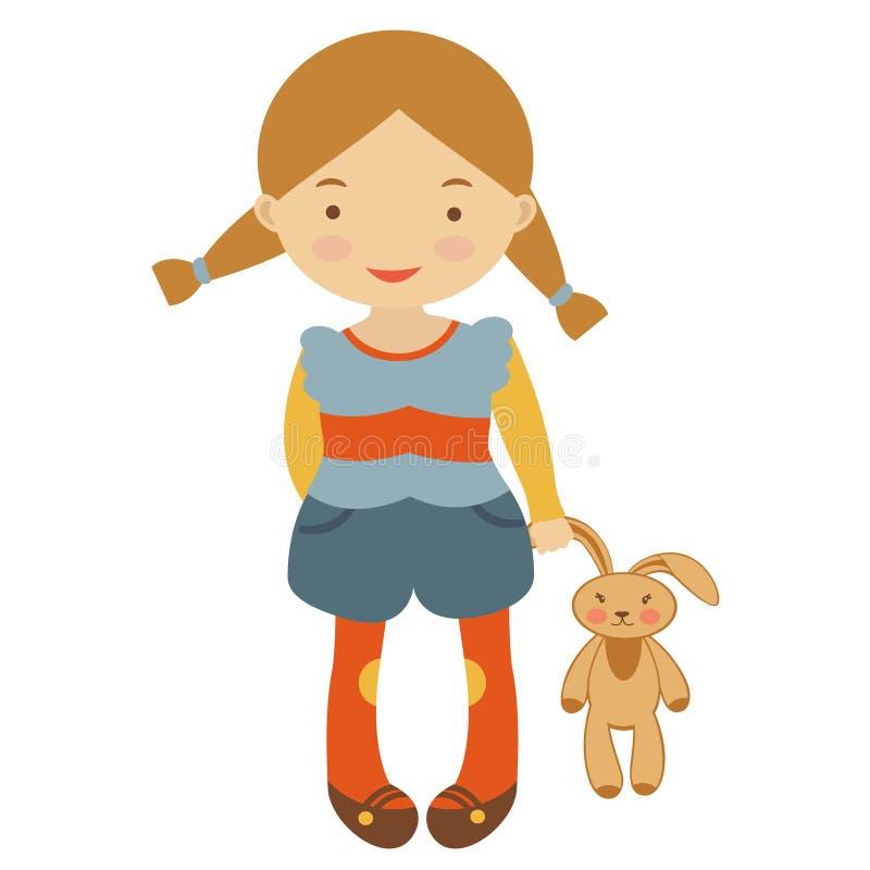 Petite fille mignonne avec le jouet illustration de vecteur