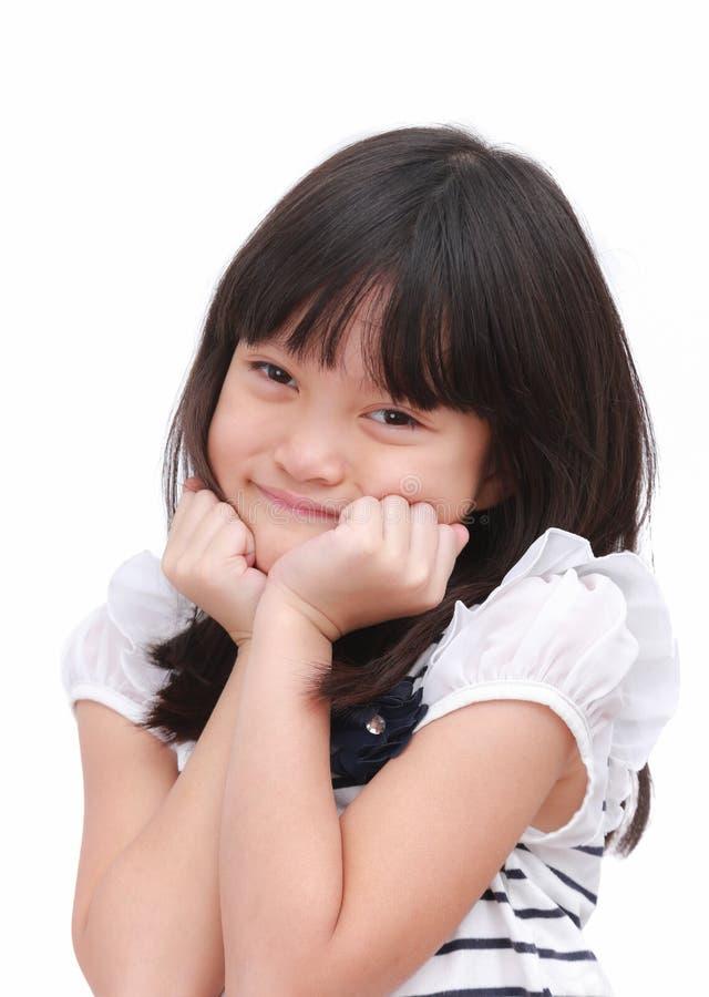 Petite fille mignonne avec sentiment heureux images stock