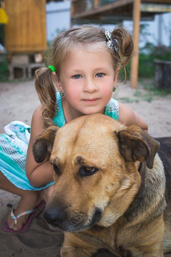 Petite fille mignonne avec un grand chien dans la campagne images stock