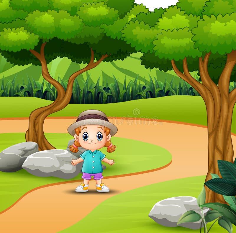 Petite fille mignonne ayant l'amusement dans la route illustration libre de droits