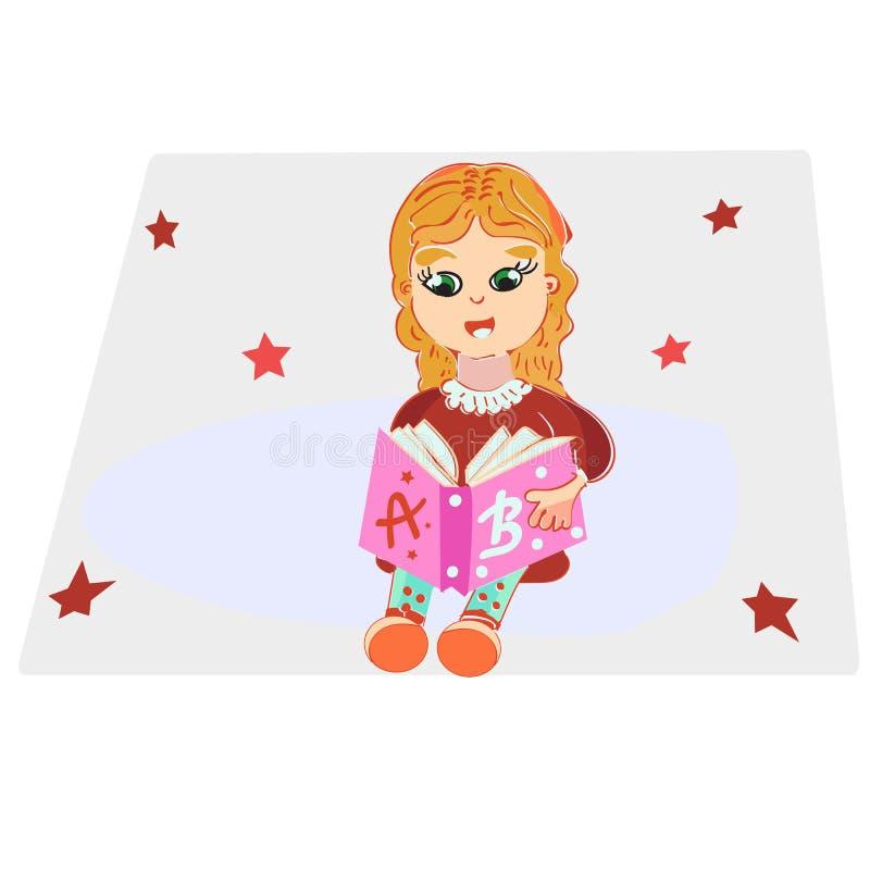 Petite fille mignonne dans des vêtements sport lisant un livre et un sourire, illustration de vecteur