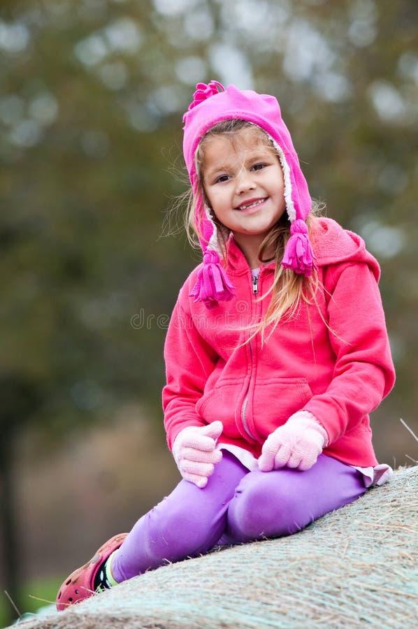 Petite fille mignonne dans la séance rose sur la balle de foin image libre de droits