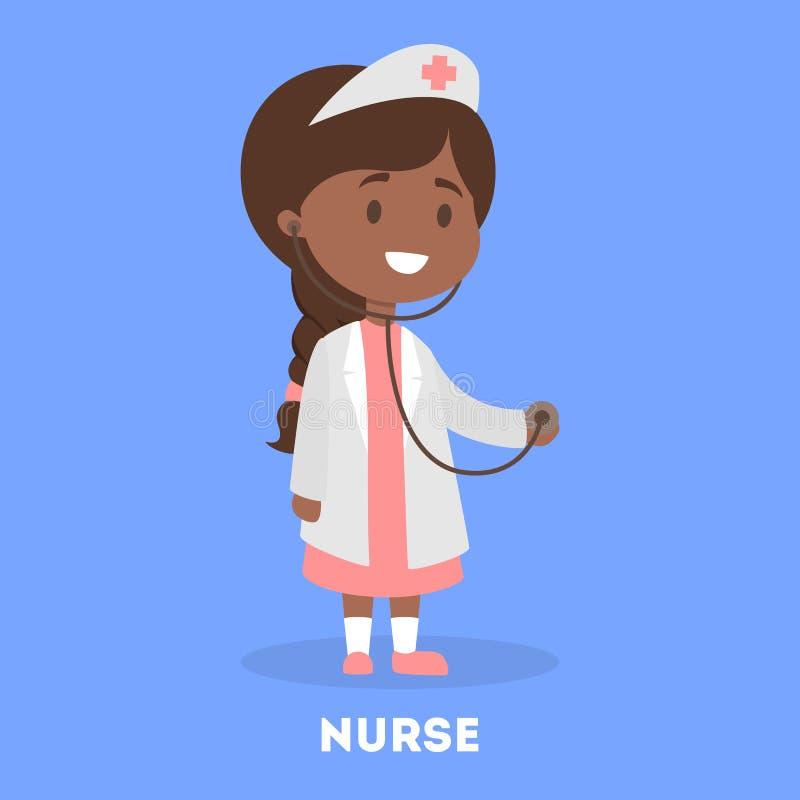 Petite fille mignonne dans un uniforme de docteur jeu d'enfant illustration de vecteur