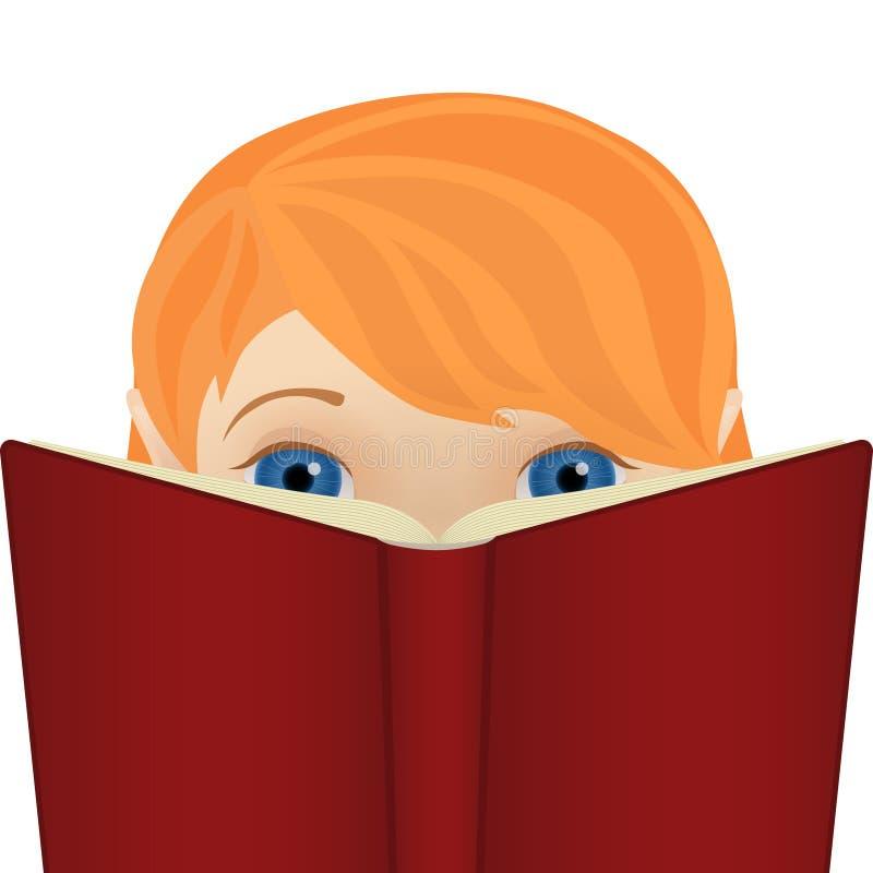 Petite fille mignonne de gingembre lisant un grand livre illustration de vecteur