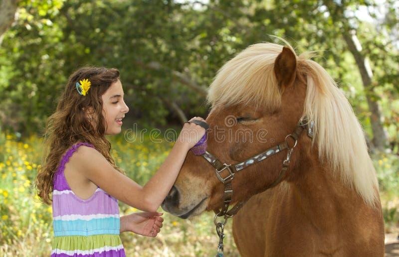 Petite fille mignonne extérieure balayant son poney, photos stock