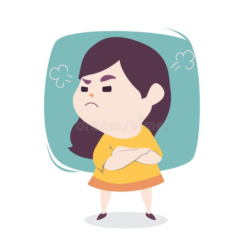 Petite fille mignonne fâchée avec le soufflement des oreilles, bande dessinée IL de vecteur illustration stock