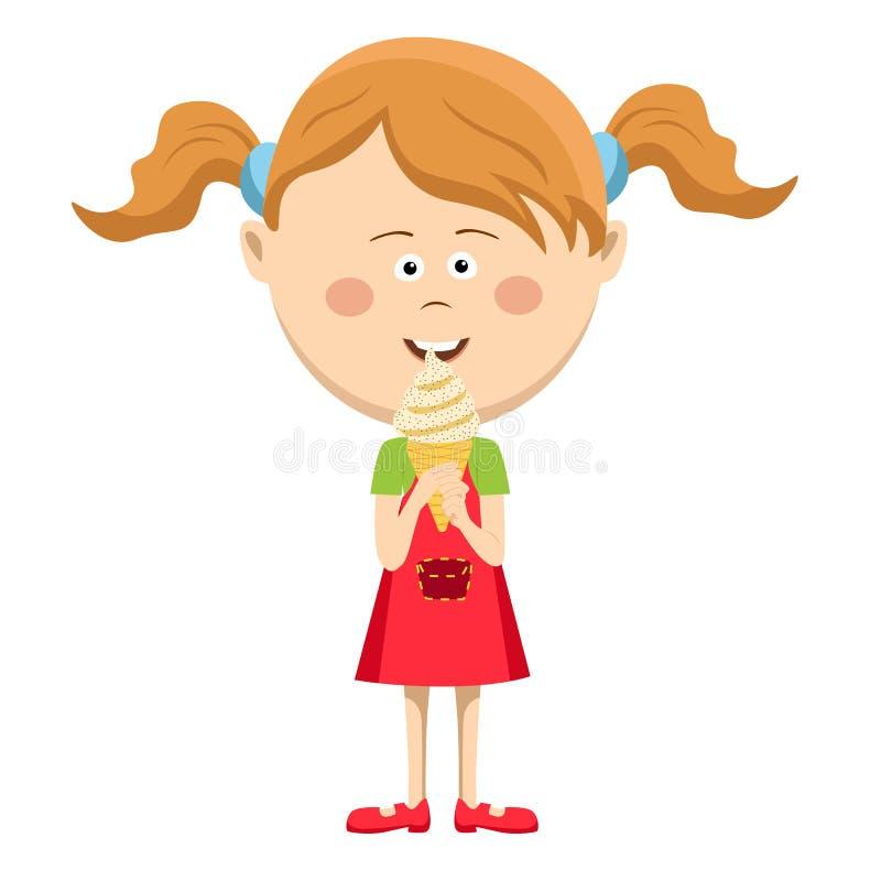 Petite fille mignonne heureuse mangeant la crème glacée  illustration de vecteur