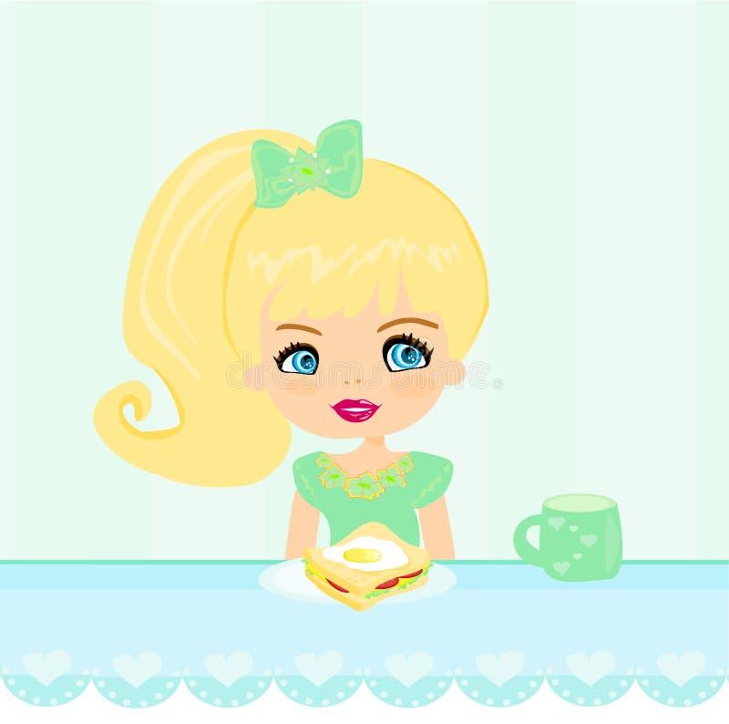 Petite fille mignonne mangeant le petit déjeuner illustration libre de droits