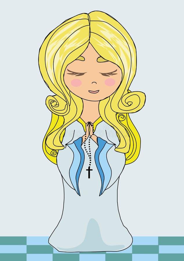 Petite fille mignonne priant le chapelet illustration stock