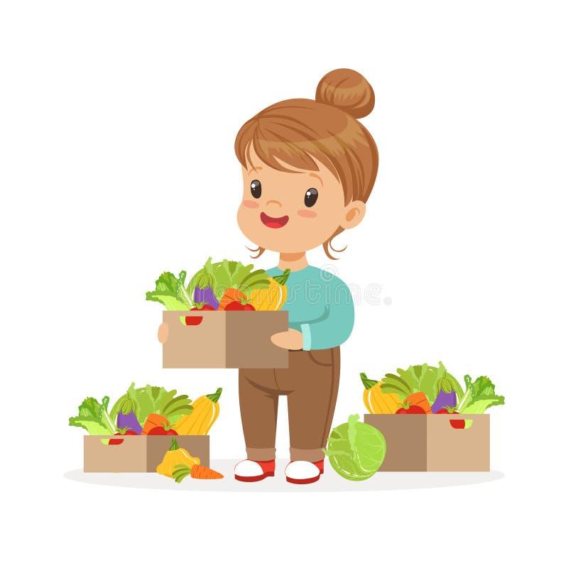 Petite fille mignonne tenant le panier avec des légumes, illustration colorée de vecteur de concept sain de nourriture d'enfants illustration libre de droits